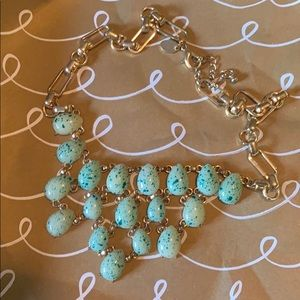 Mint speckled costume jewelry with gold chain